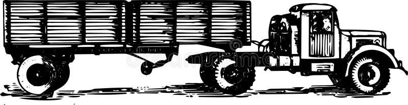 Большой трактор тележки с трейлером иллюстрация штока