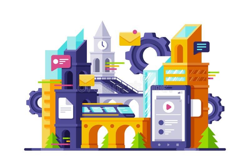 Большой футуристический город технологии steampunk с онлайн мобильной телефонной связью, почтой, быстроходным поездом бесплатная иллюстрация