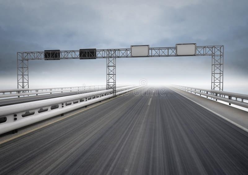 Большой хайвей для движения скорости с голубым небом иллюстрация штока