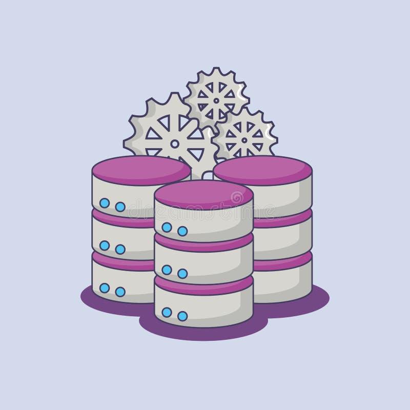 Большой центр сервера данных зацепляет нововведение технологии иллюстрация вектора