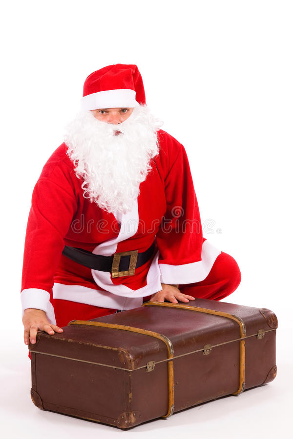 большой чемодан claus santa стоковая фотография