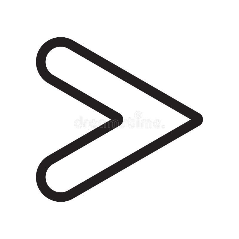 Большой чем знак и символ вектора значка знака изолированные на белой предпосылке, больше чем концепция логотипа знака бесплатная иллюстрация