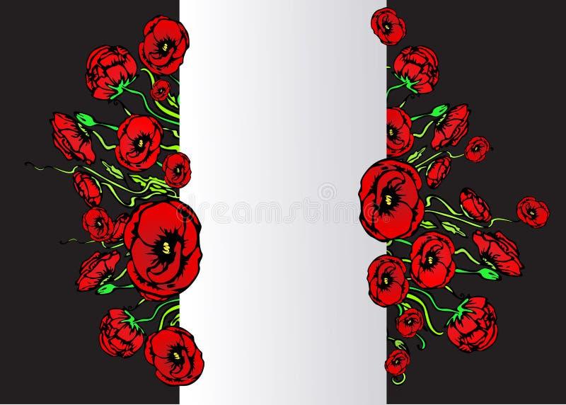 Большой шаблон flayer круга продажи для сети и предпосылка печати, белых и черных с красным и флористическим букетом Творческий д иллюстрация штока
