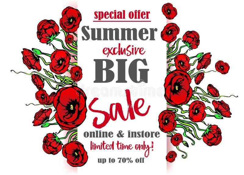 Большой шаблон flayer продажи для сети и печати, на белой предпосылке с красным флористическим букетом Творческий дизайн вектора, бесплатная иллюстрация