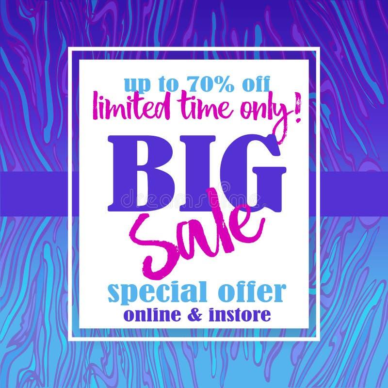Большой шаблон flayer продажи для сети и печать с предпосылкой картины неоновых волн мраморной в пурпурных голубых цветах Творчес иллюстрация штока