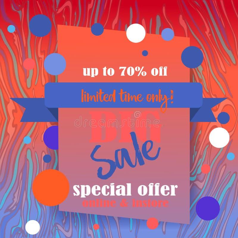 Большой шаблон flayer продажи для сети и печать с предпосылкой картины неоновых волн мраморной в неоновых голубых и оранжевых цве иллюстрация вектора