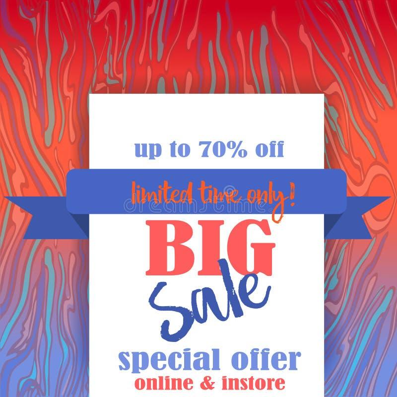 Большой шаблон flayer продажи для сети и печать с предпосылкой картины неоновых волн мраморной в неоновых голубых и оранжевых цве иллюстрация штока