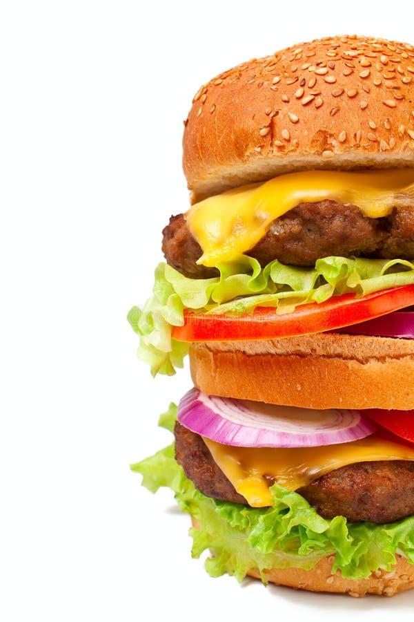 большой cheeseburger двойной стоковые изображения