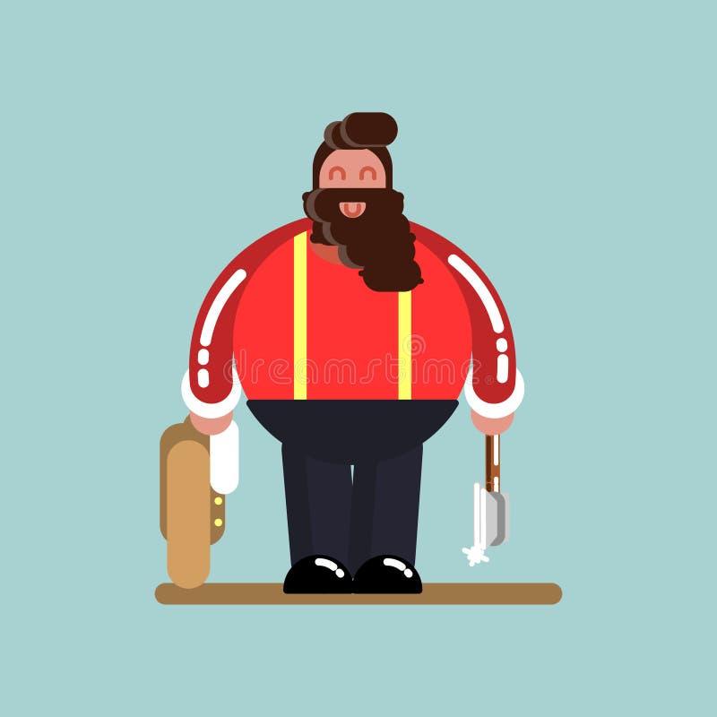 Большой lumberjack стоя с курткой и осью иллюстрация вектора
