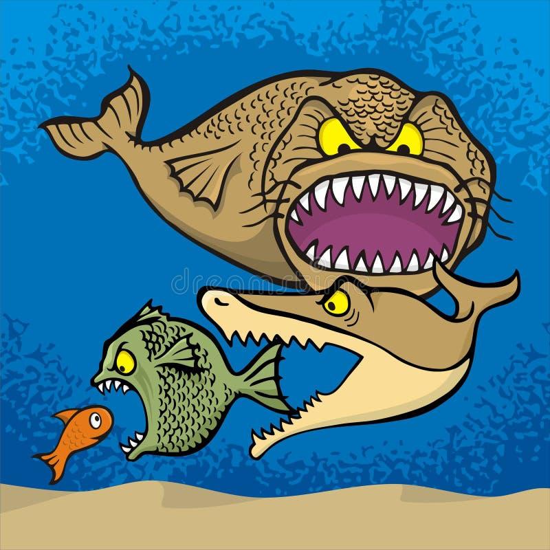 больш ест рыб малых иллюстрация вектора