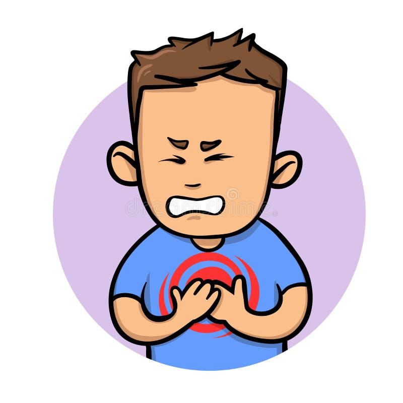Боль в груди чувства молодого человека Ангина и сердечный приступ Плоская иллюстрация вектора белизна изолированная предпосылкой иллюстрация штока