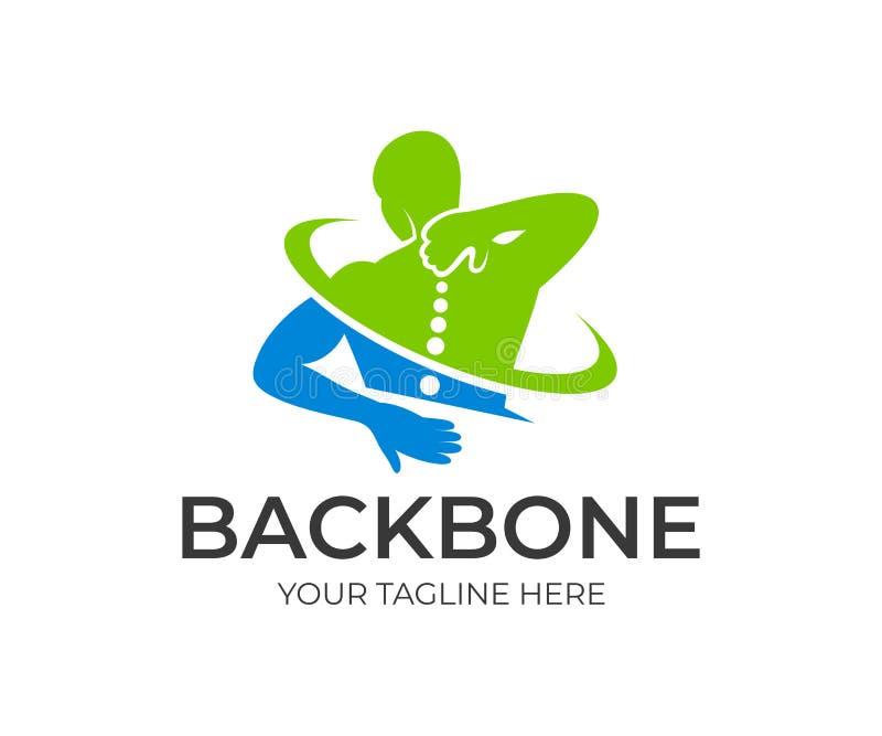 Боль позвоночника в обрядовой и цервикальной зоне, человеке держа его назад в боли зоны, дизайне логотипа Медицина позвоночника и иллюстрация штока