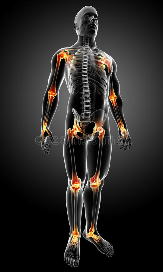 боль тела совместная мыжская иллюстрация вектора