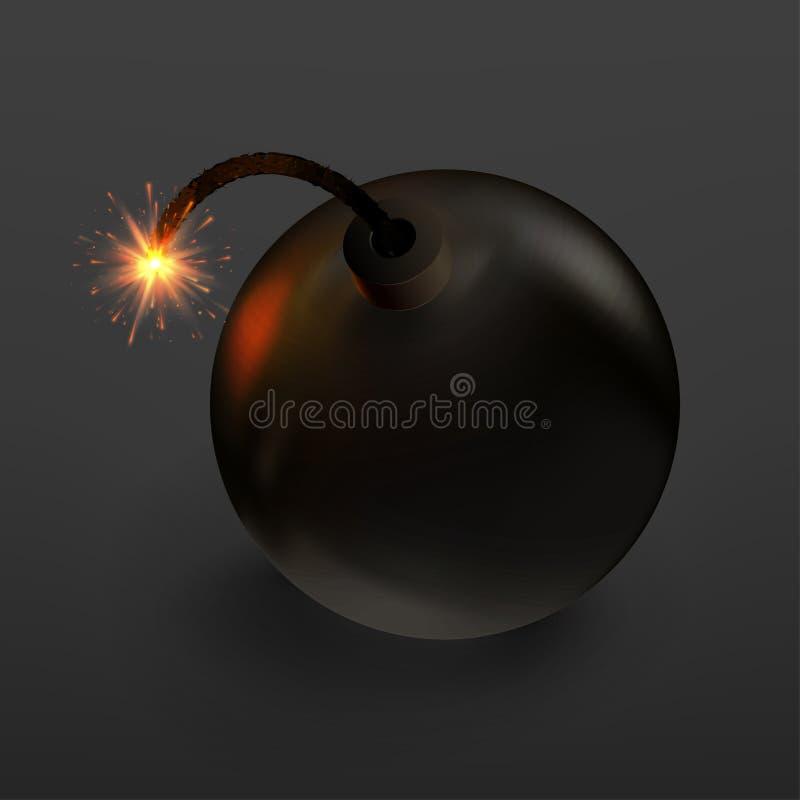 Бомба иллюстрации растра запаса на черной предпосылке иллюстрация вектора
