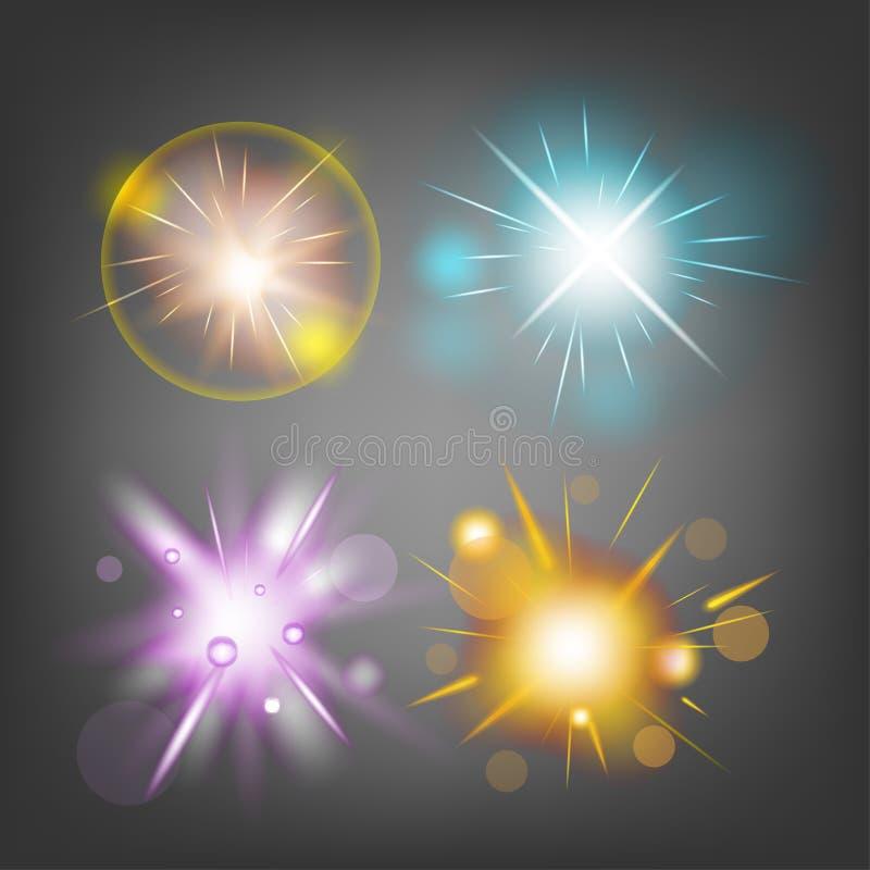 Бомба огня звезды искрится светлый вектор иллюстрация вектора