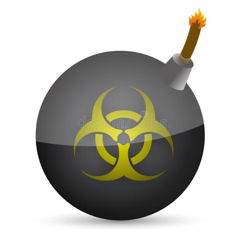 Бомба с символом biohazard в фронте иллюстрация вектора