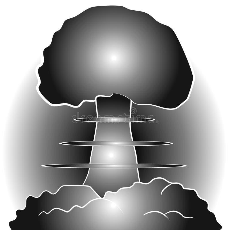 бомбите гриб облака ядерный иллюстрация вектора