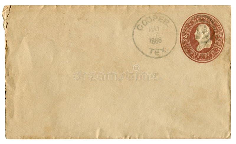 Бондарь, Техас, США - 7-ое мая 1886: Конверт США исторический: предусматрива с коричневой выбитой отпечатанной печатью, 2 центами стоковые фото