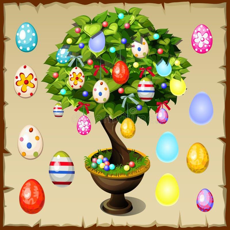 Бонзаи украшенные с красочными пасхальными яйцами иллюстрация вектора