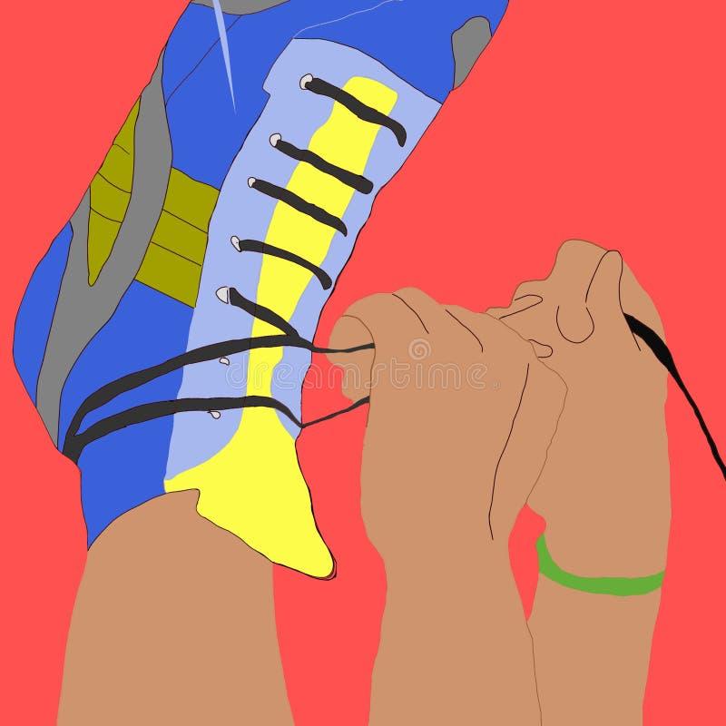 Борец: укомплектуйте личным составом связывать его шнурки ботинка и получать готов для спорт стоковые фотографии rf