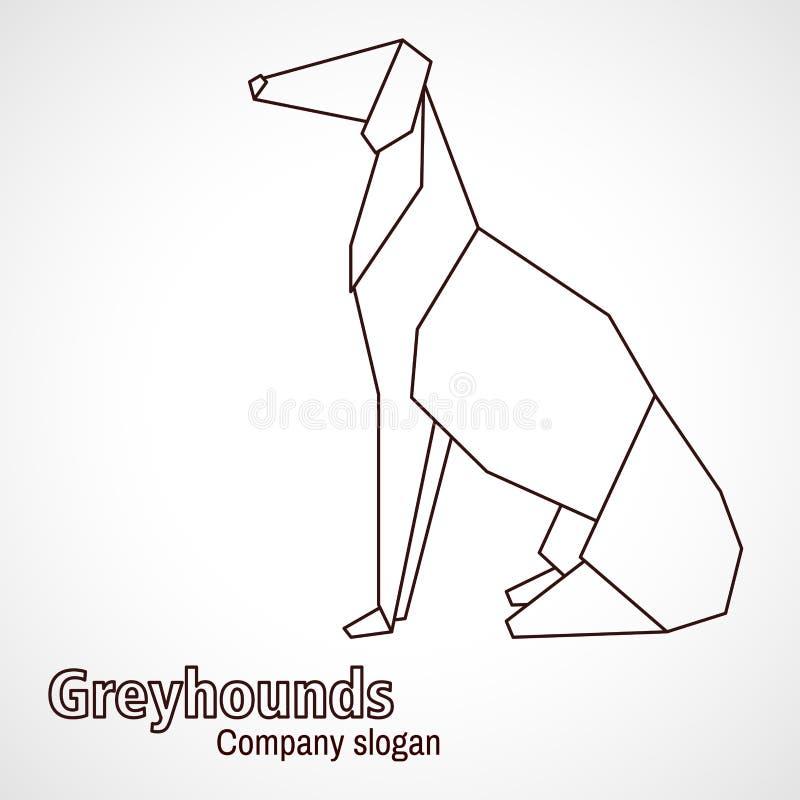 Борзая породы собаки контуров origami иллюстрации иллюстрация штока