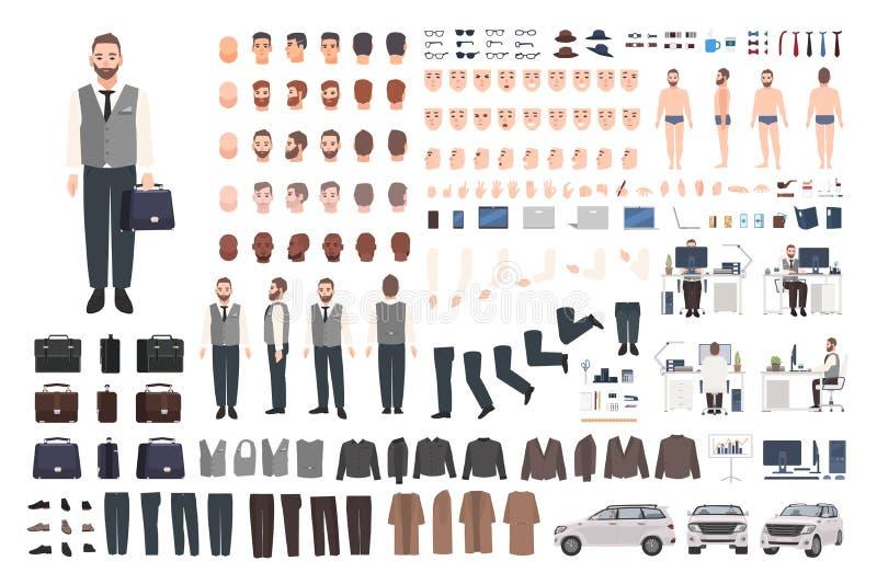 Бородатые работник офиса, набор творения клерка или менеджера или набор DIY Пачка мужских частей тела персонажа из мультфильма, о бесплатная иллюстрация