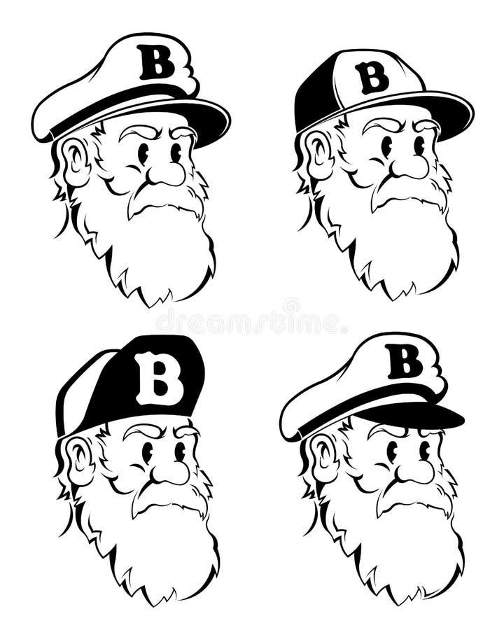 Бородатый битник капитана иллюстрация штока