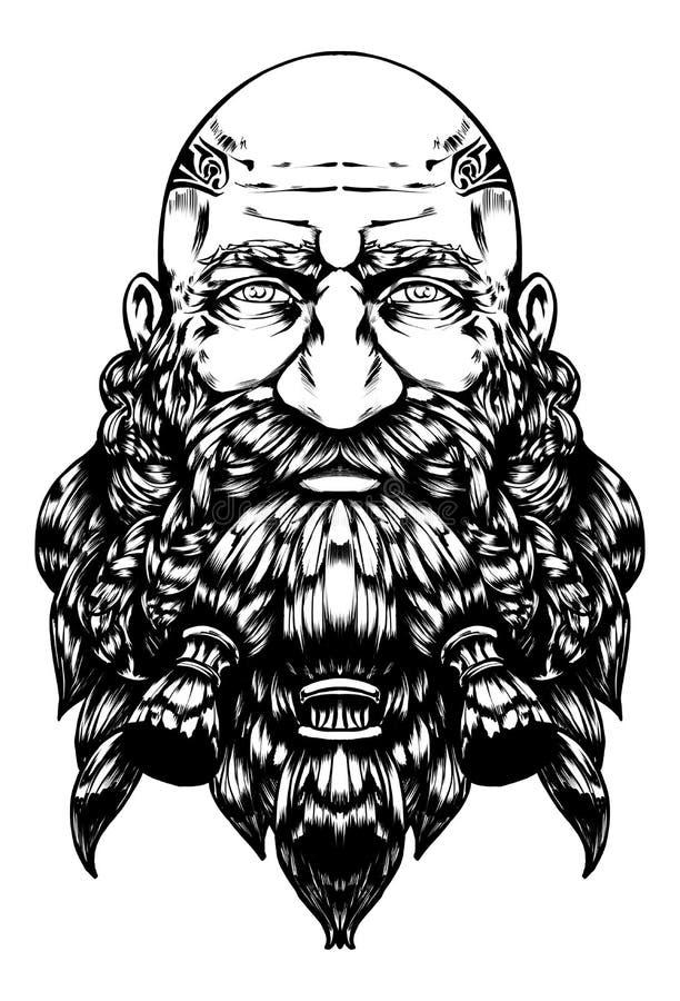 Бородатый облыселый карлик с добросердечным взглядом иллюстрация штока