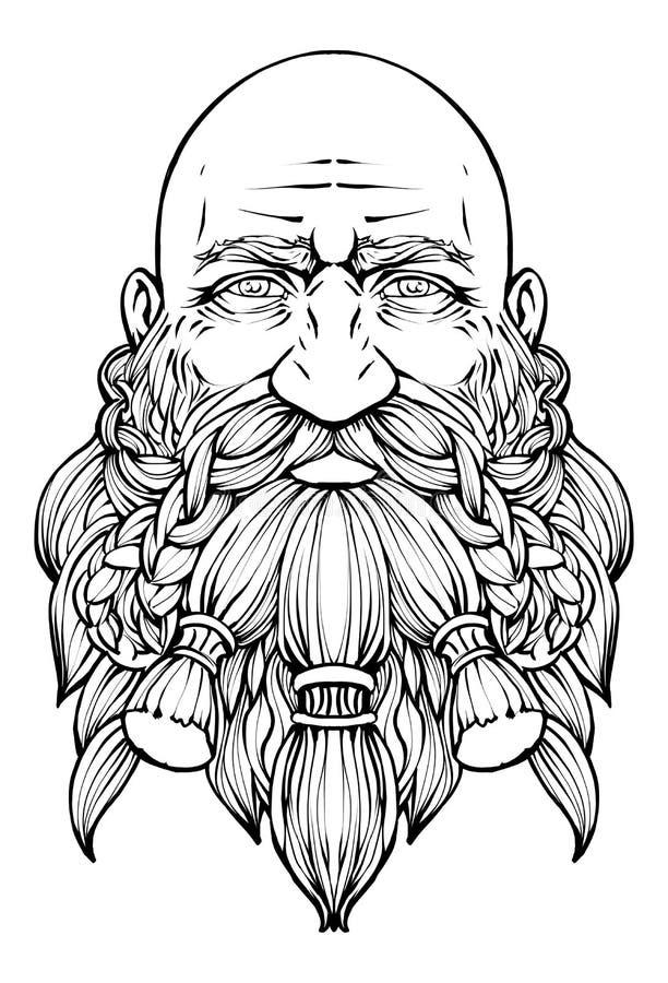 Бородатый облыселый карлик с добросердечным взглядом иллюстрация вектора