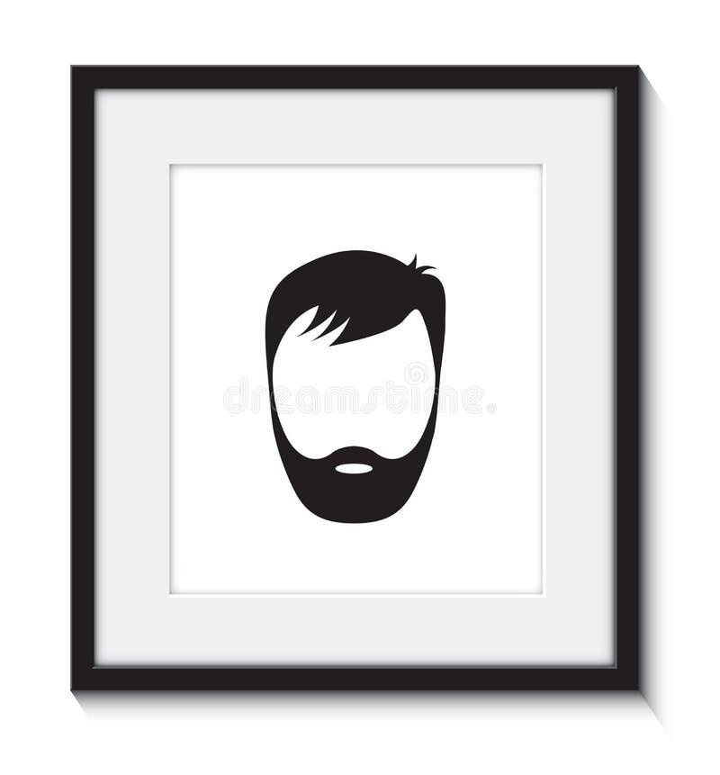 Бородатый человек в рамке иллюстрация вектора