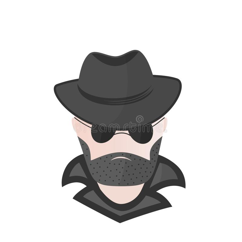 Бородатый человек в шляпе с солнечными очками шпионка сыщик хакер компьютера предпосылки близкий вверх по белизне иллюстрация вектора
