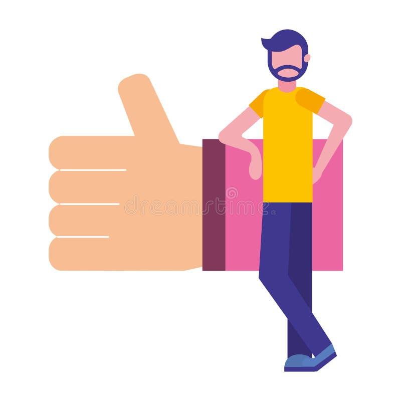 Бородатый человек с рукой как социальные средства массовой информации бесплатная иллюстрация