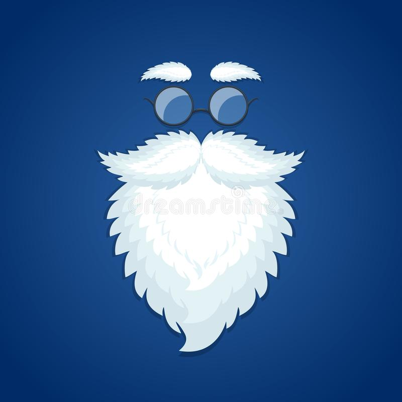Борода и стекла Санты на голубой предпосылке рождества иллюстрация вектора