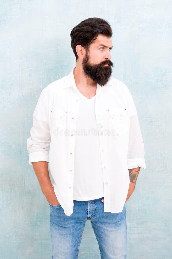 : Борода и усик хипстера длинные Мужское зверство закала Предпосылка зверского мужского случайного обмундирования серая стоковые фото