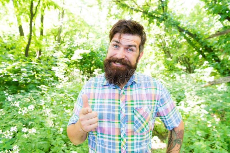 Борода и усик человека красивая в лесе лета соединенном с окружающей средой o Исследуйте дикую природу стоковое изображение