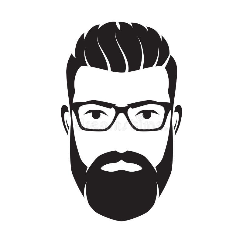 Бородатая сторона людей, характер битника также вектор иллюстрации притяжки corel иллюстрация вектора