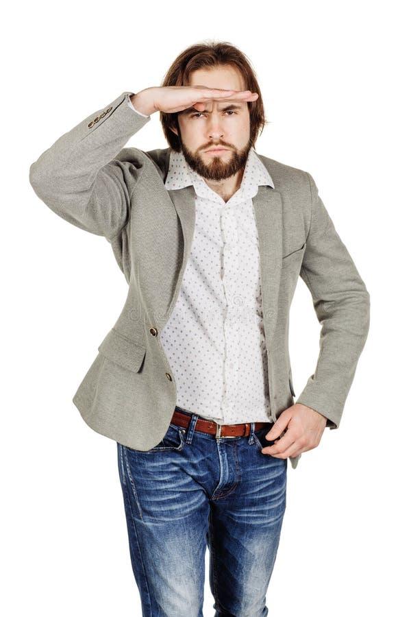 Бородатый молодой бизнесмен используя цифровую таблетку Isolat портрета стоковое изображение rf