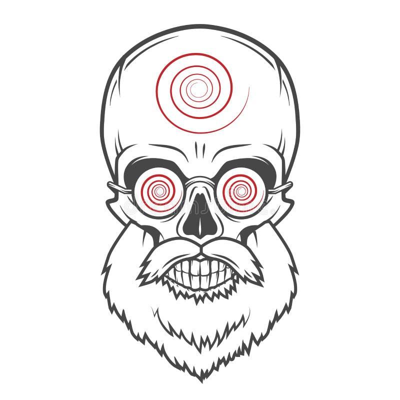 Бородатый череп с гипнотическими стеклами шально иллюстрация вектора
