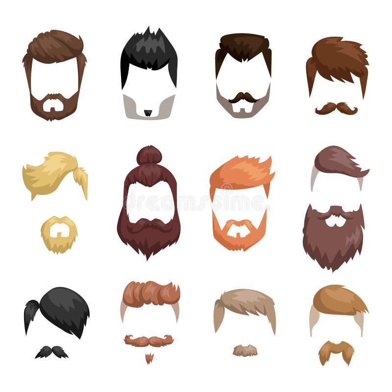 Борода стиля причёсок и сторона волос отрезали вектор шаржа маски плоский иллюстрация штока