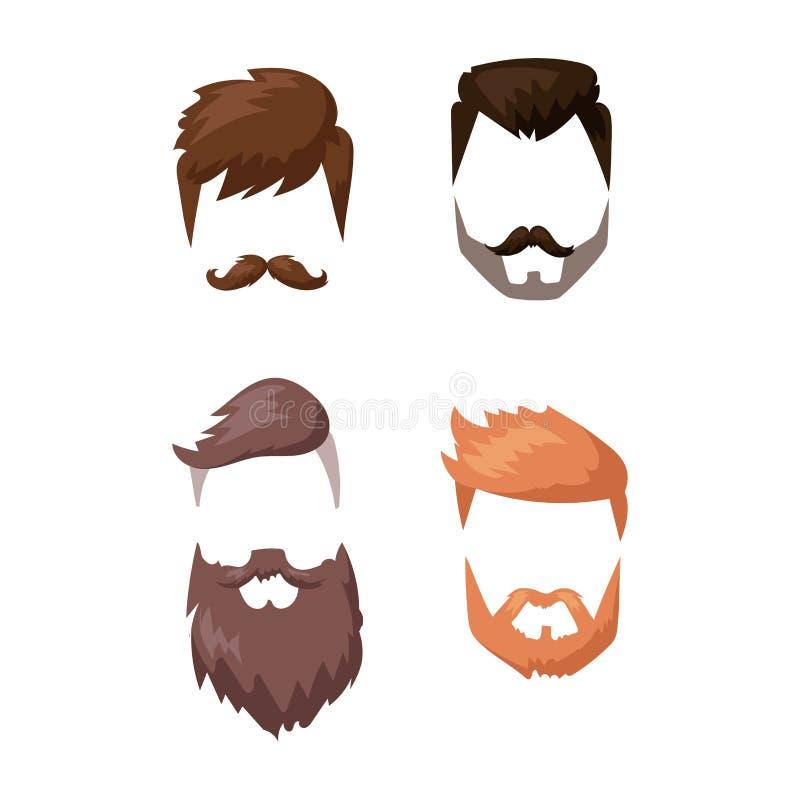 Борода стиля причёсок и сторона волос отрезали вектор шаржа маски плоский бесплатная иллюстрация