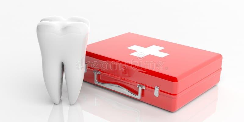 Бортовая аптечка и модель зуба изолированная на белой предпосылке иллюстрация 3d иллюстрация штока