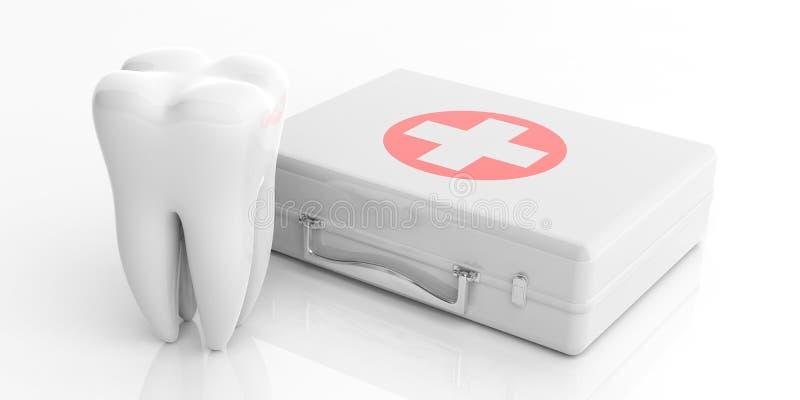 Бортовая аптечка и модель зуба изолированная на белой предпосылке иллюстрация 3d иллюстрация вектора