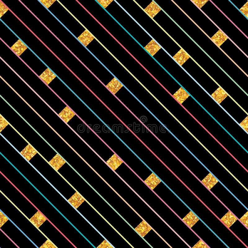 Бортовая линия картина золотого яркого блеска диаманта безшовная иллюстрация штока