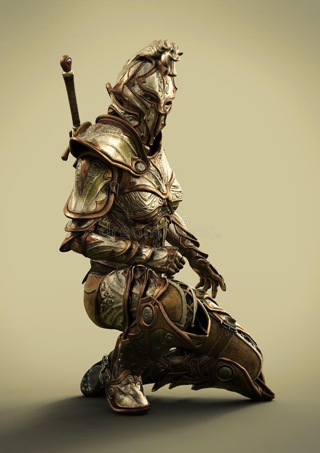 Бортовой профиль рыцаря женщины польностью armored орнаментального стоковое изображение