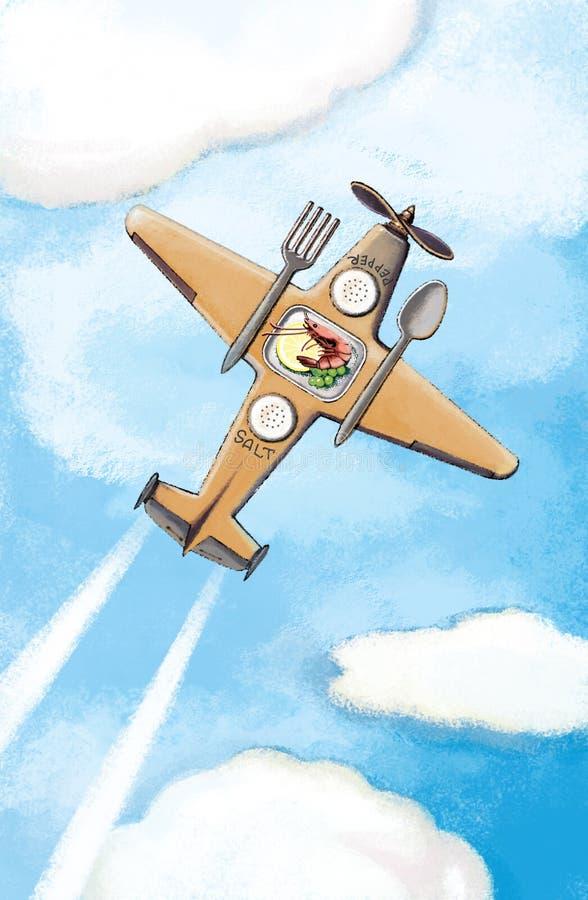 Бортовые еды на самолете Самолет с вилкой и ложкой иллюстрация вектора
