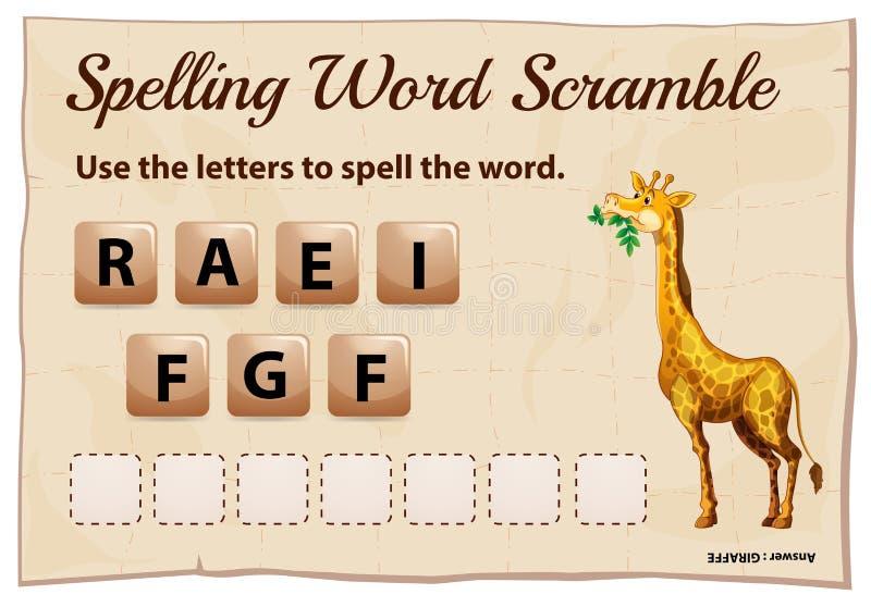 Борьба слова правописания для жирафа слова иллюстрация вектора