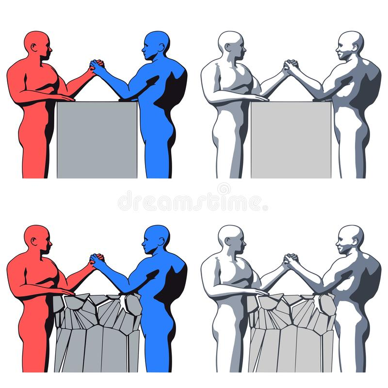 Борьба с сильным лысым человеком иллюстрация вектора