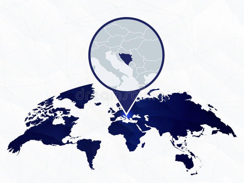 Босния и Герцеговина детализировала карту выделила на голубой округленной карте мира бесплатная иллюстрация