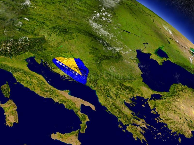 Download Босния с врезанным флагом на земле Иллюстрация штока - иллюстрации насчитывающей orbiting, космос: 81805104