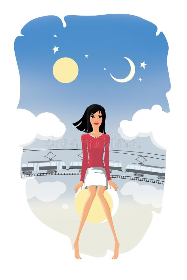Босоногая девушка сидит на луне на предпосылке призрачного трамвая и фантастического неба с солнцем, луной, звездами и облаками иллюстрация вектора